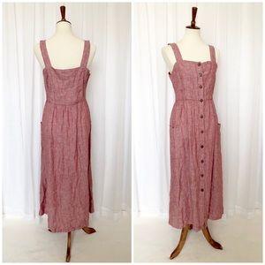 Rachel Zoe Linen Sleeveless Button Maxi Dress Sz 8